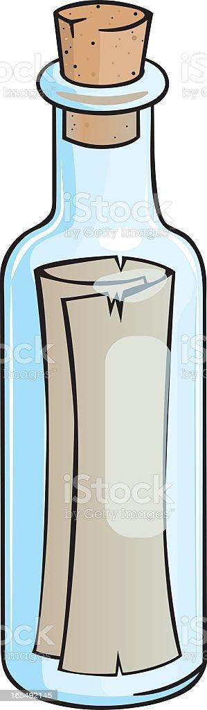 Illustration of a message in a bottle vector art illustration