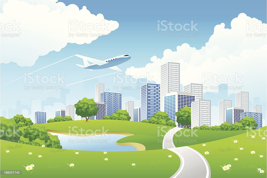 Illustration of a modern city with a jet plane flying by royalty-free stock vector art