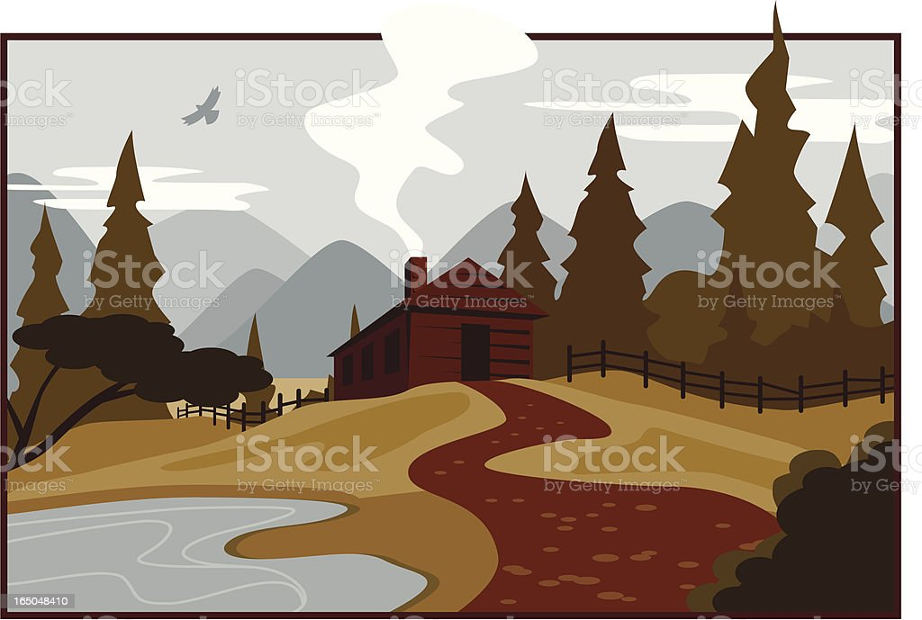 Illustration of a mountain cabin vector art illustration