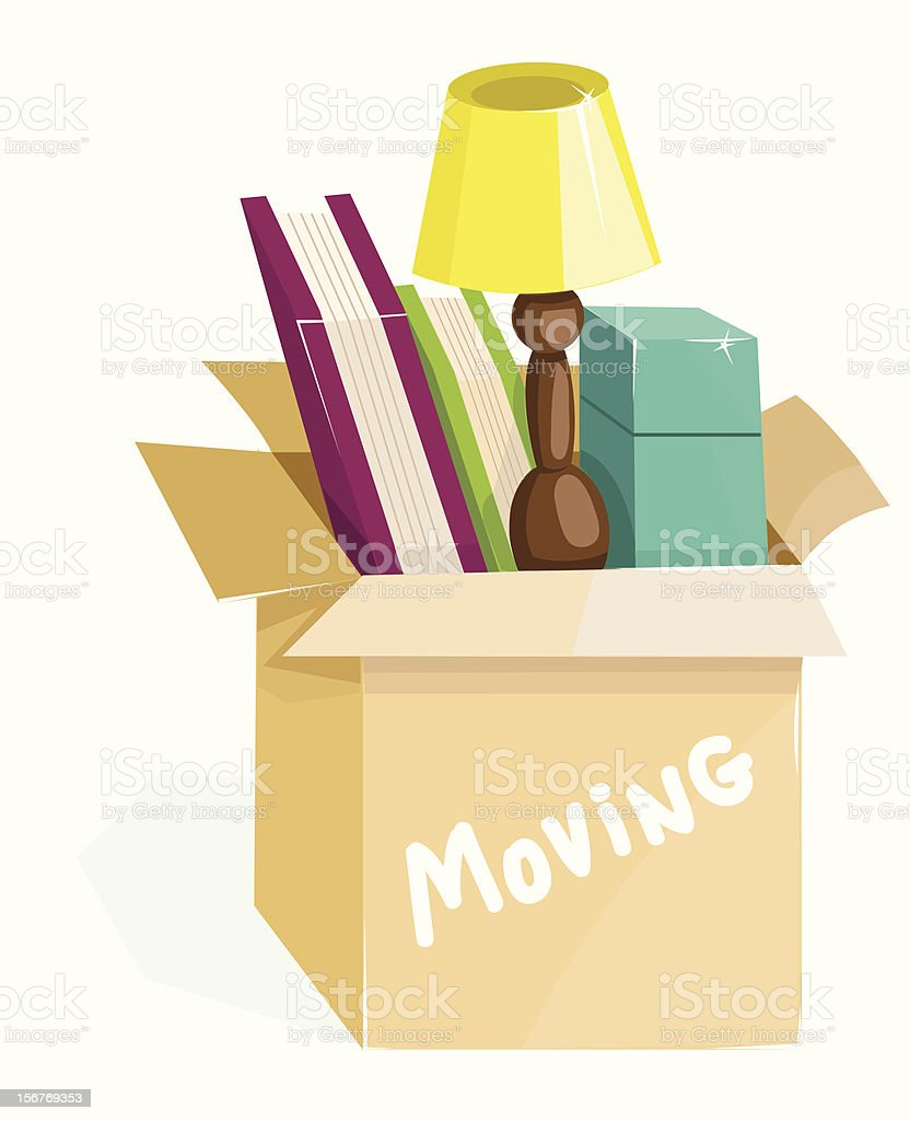 Illustration of a moving box with books and a lamp vector art illustration
