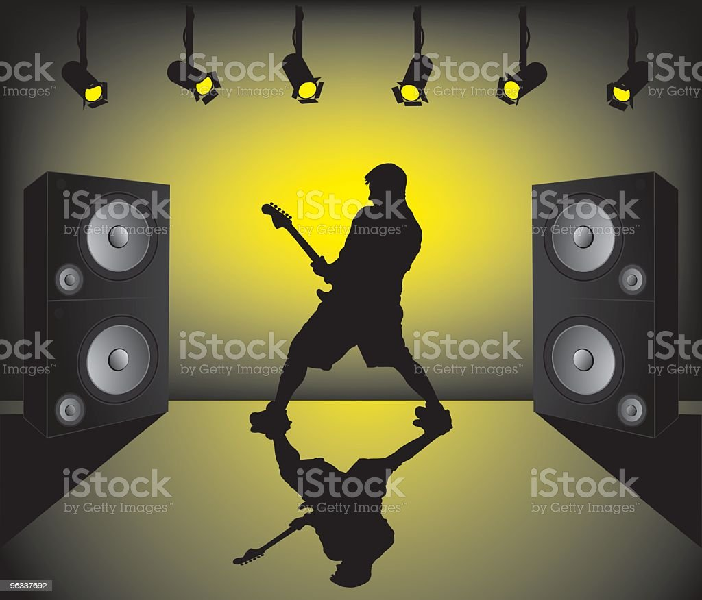 Illustration of a musician playing guitar on a stage royalty-free stock vector art