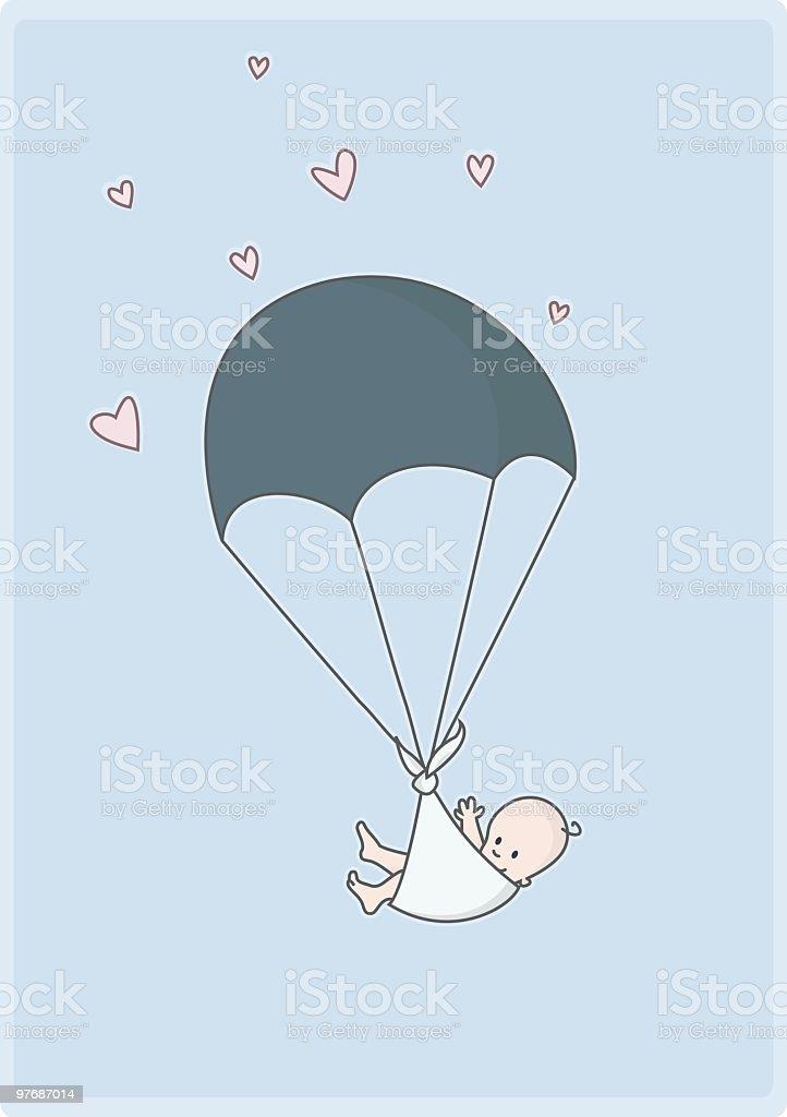 Illustration of a newborn falling from the sky vector art illustration