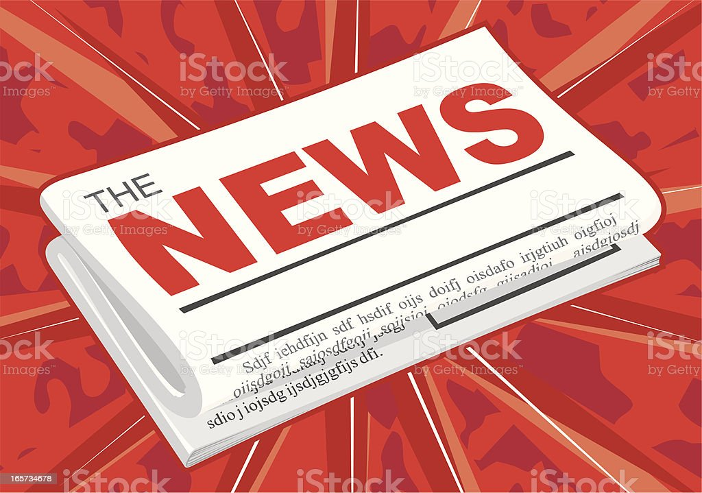 Illustration of a newspaper on a red background vector art illustration