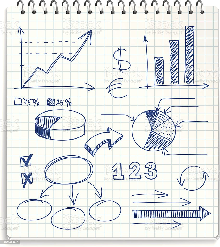 Illustration of a notepad with financial doodles vector art illustration