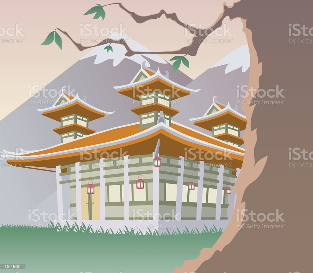 Illustration of a pagoda over snow-capped mountains vector art illustration