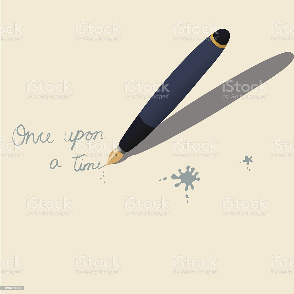 Illustration of a pen writing Once Upon a Time on paper royalty-free stock vector art