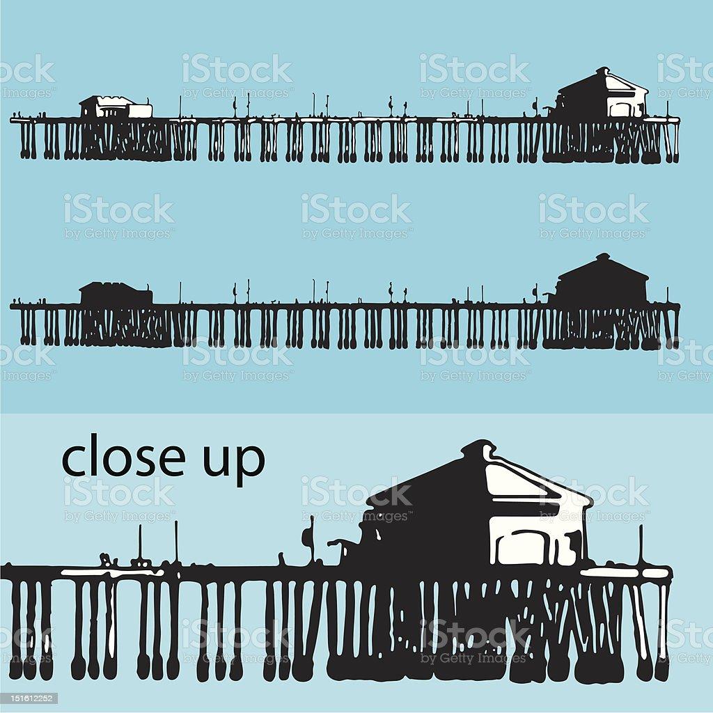 Illustration of a pier vector art illustration