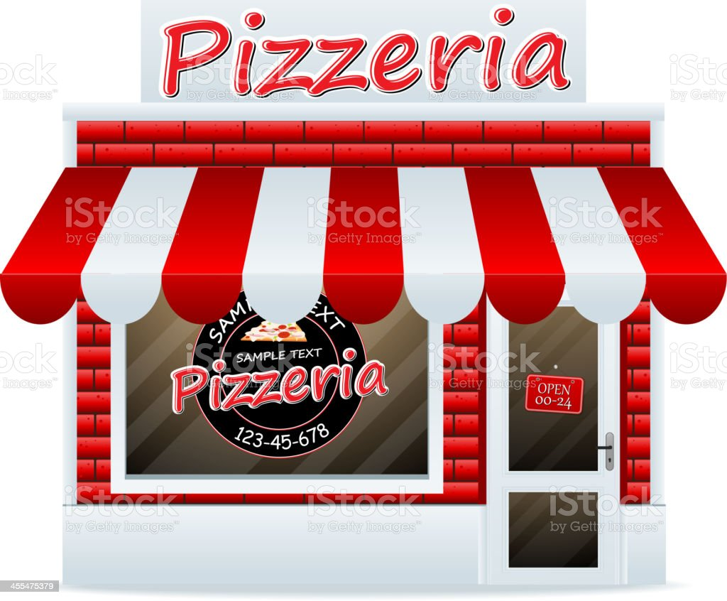 Illustration of a pizzeria with red and white awning vector art illustration