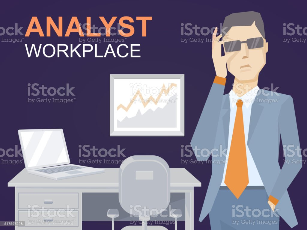 illustration of a portrait of analyst man in a jacket vector art illustration
