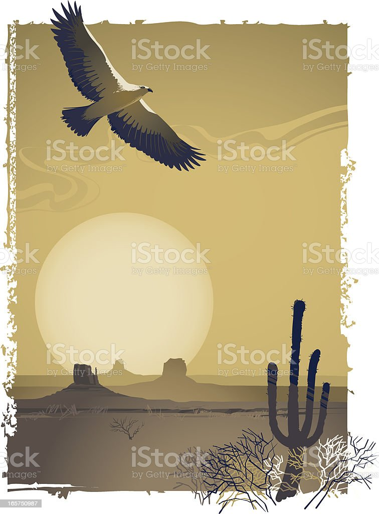 Illustration of a prairie flying over the desert at sunset vector art illustration