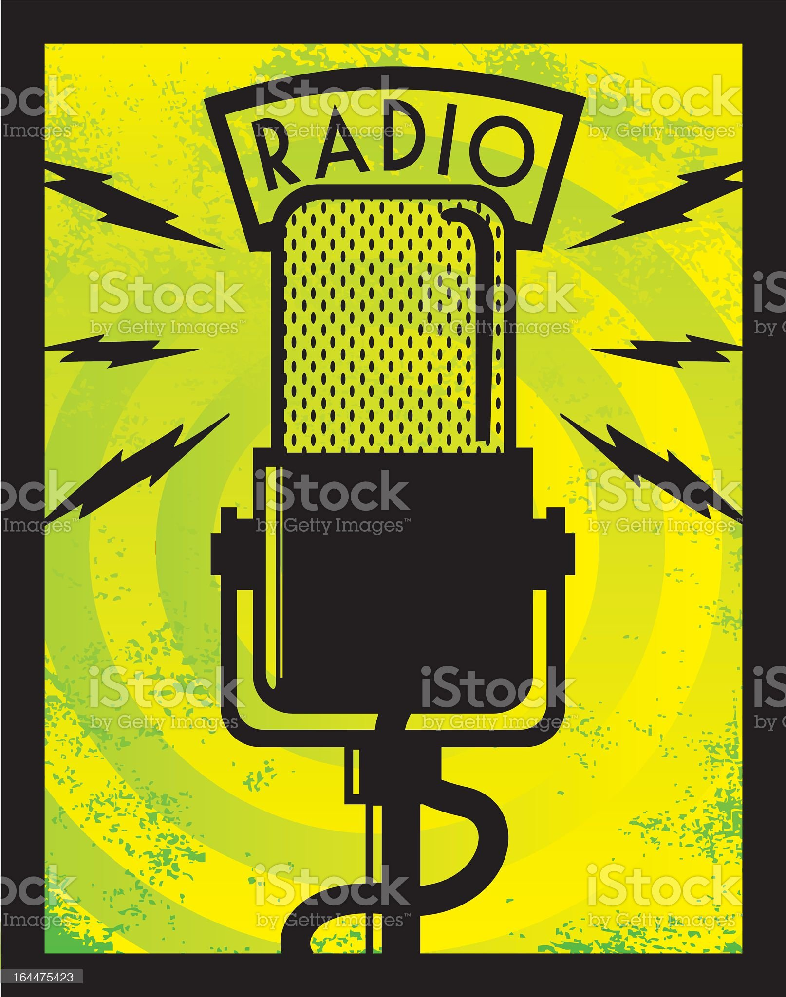 Illustration of a radio microphone on a yellow background royalty-free stock vector art