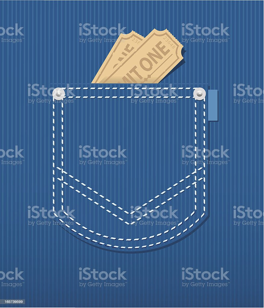 Illustration of a rear jean pocket with two tickets inside vector art illustration
