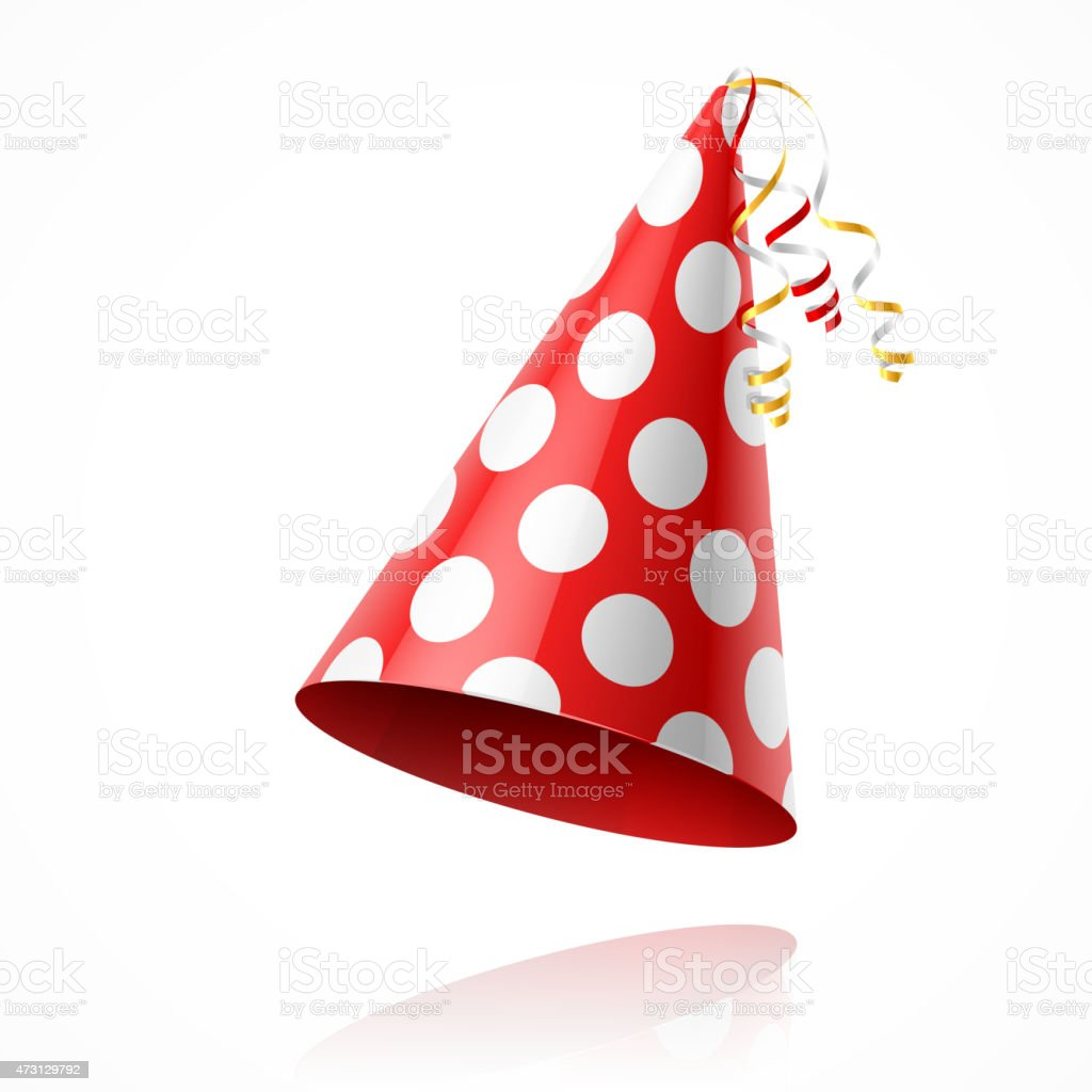 Illustration of a red party hat with white polka dots vector art illustration