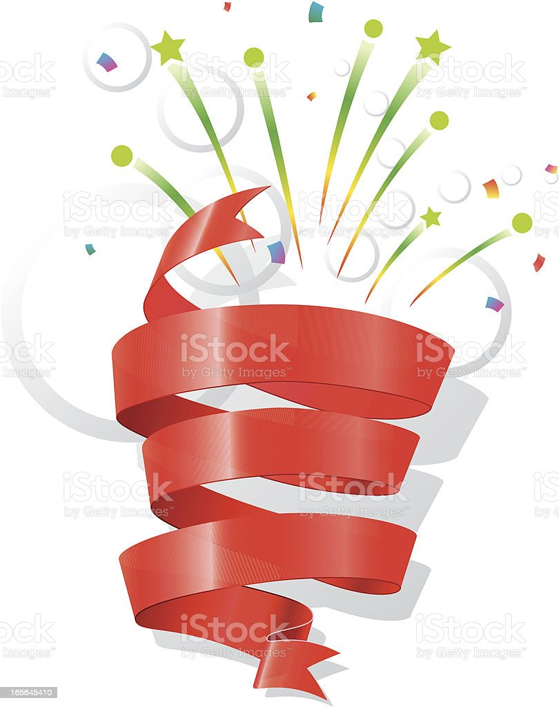 Illustration of a red ribbon and pyrotechnics lights vector art illustration