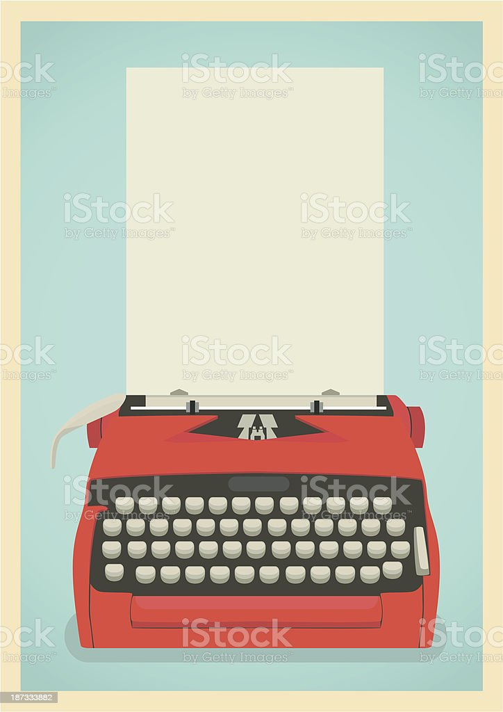 A illustration of a red vintage typewriter vector art illustration