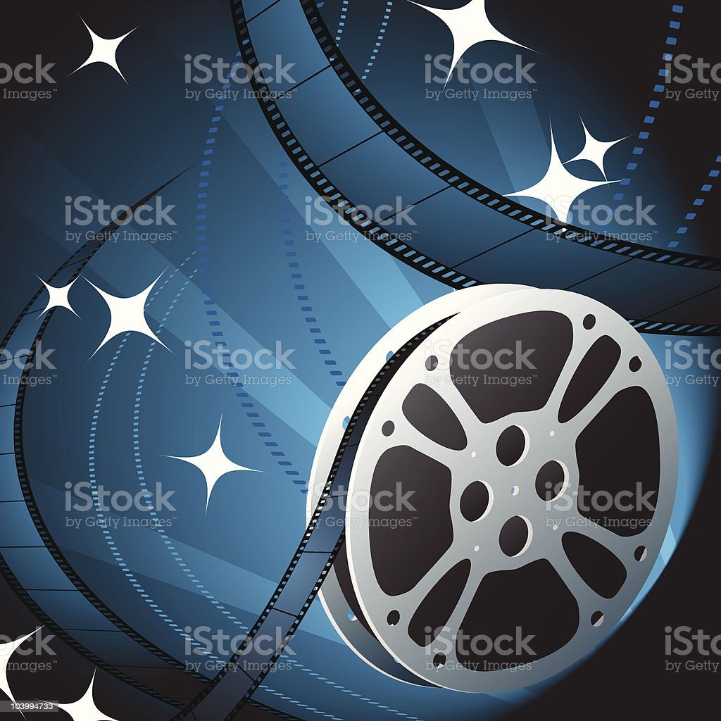 Illustration of a reel of film strip vector art illustration