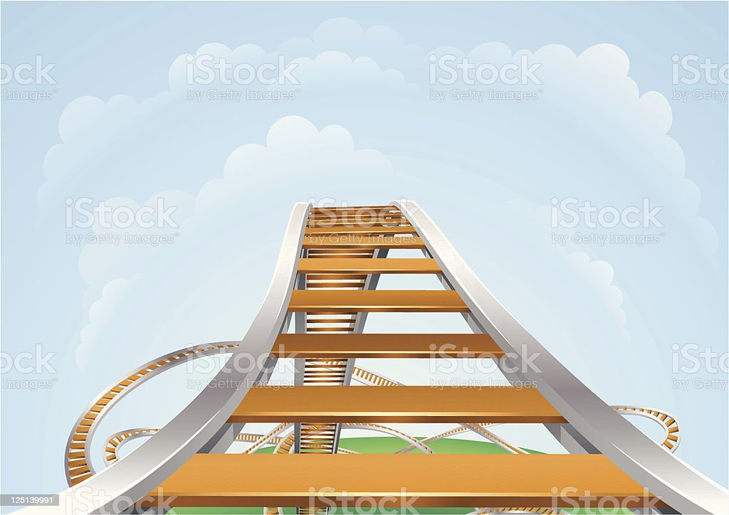 A 3D illustration of a roller coaster royalty-free stock vector art