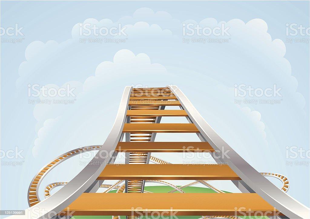 A 3D illustration of a roller coaster vector art illustration