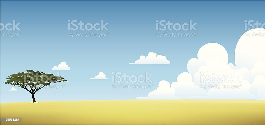 Illustration of a safari with one green tree royalty-free stock vector art