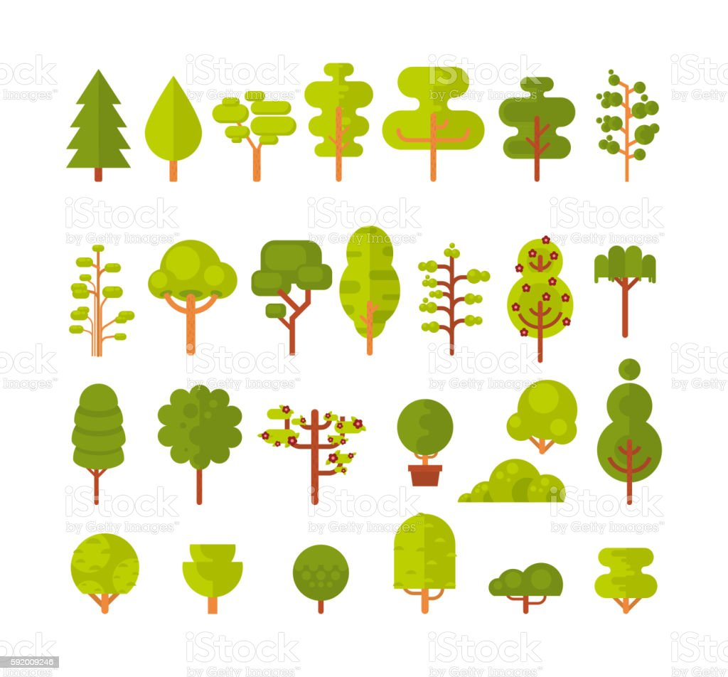 illustration of a set  isolated trees and shrubs on  white vector art illustration