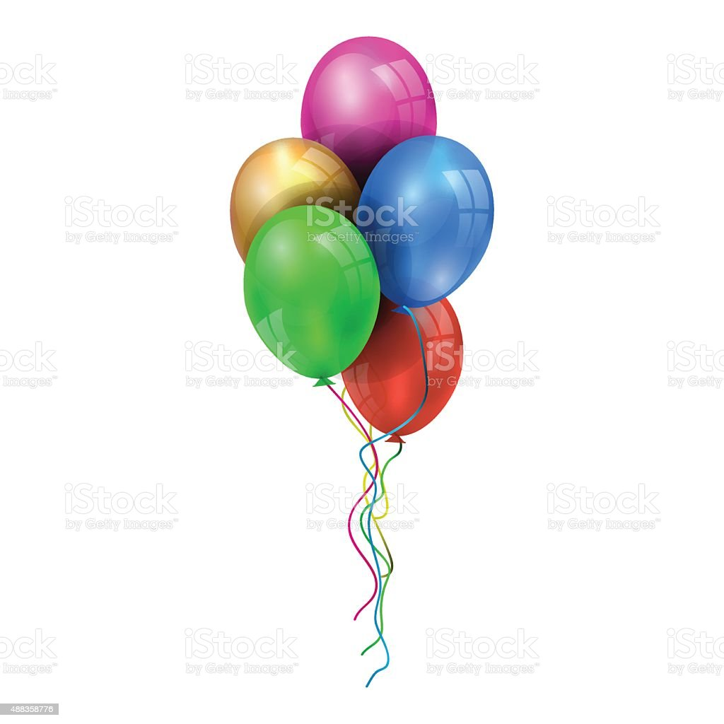 illustration of a set of colourful birthday or party balloons vector art illustration
