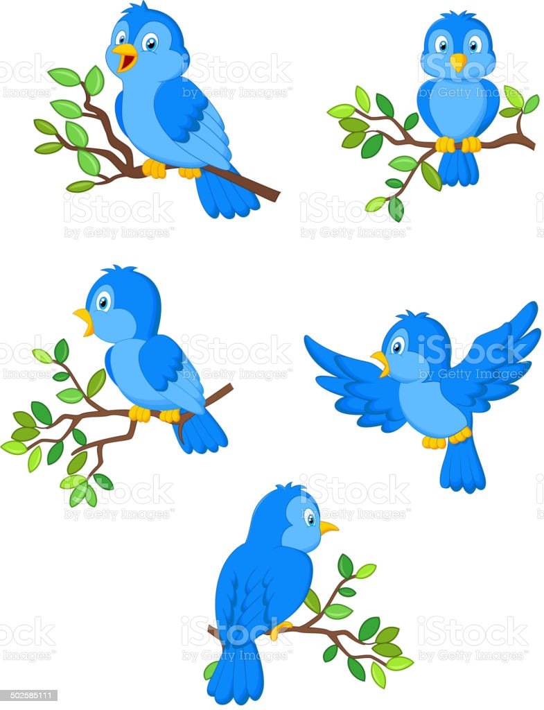 Illustration of a set of cute cartoon birds vector art illustration
