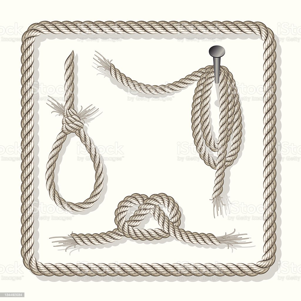 Illustration of a set of ropes with three knots vector art illustration