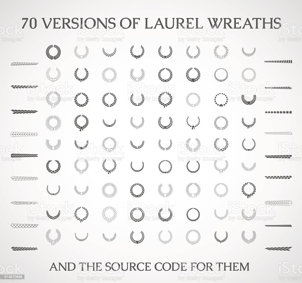Illustration of a set of vector laurel wreaths . vector art illustration