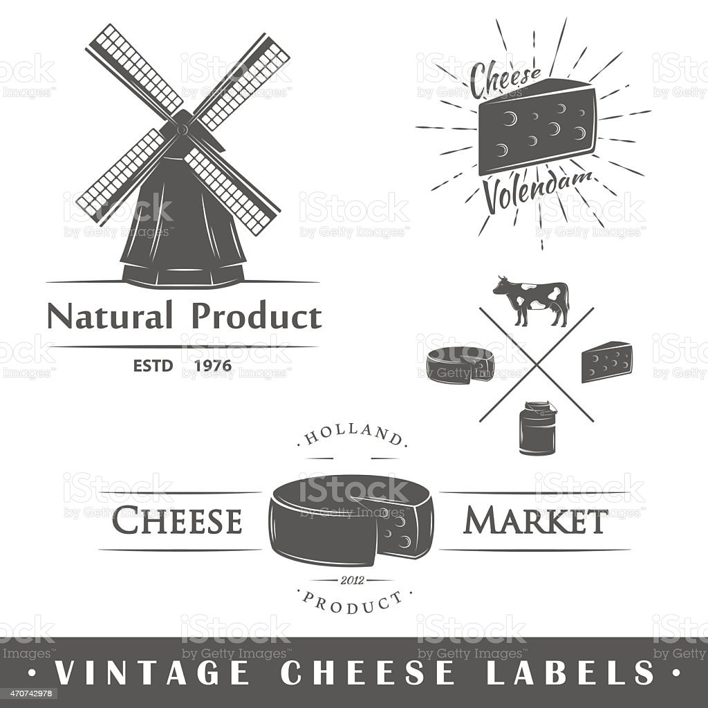 Illustration of a set of vintage cheese labels vector art illustration