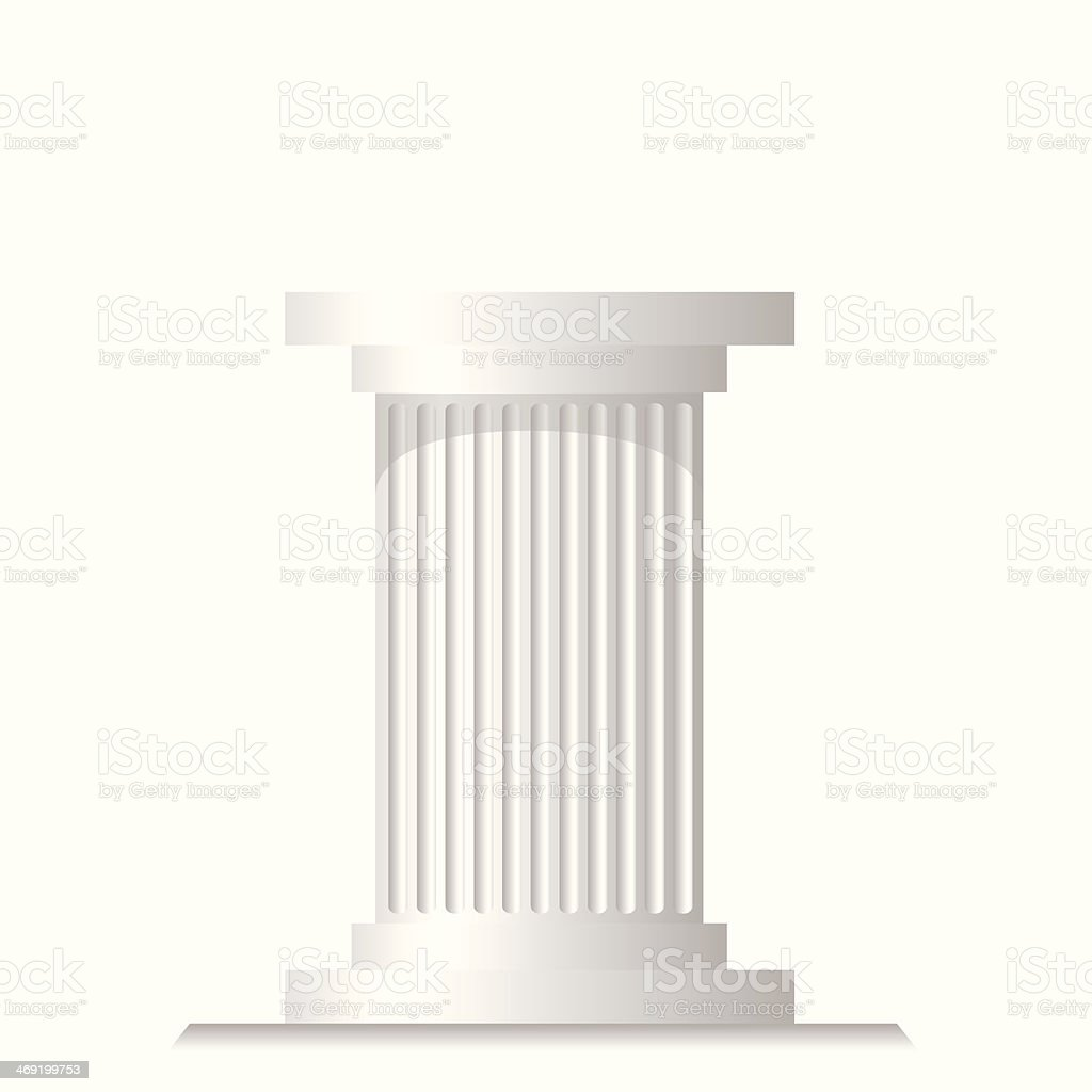 Illustration of a single white ancient column vector art illustration