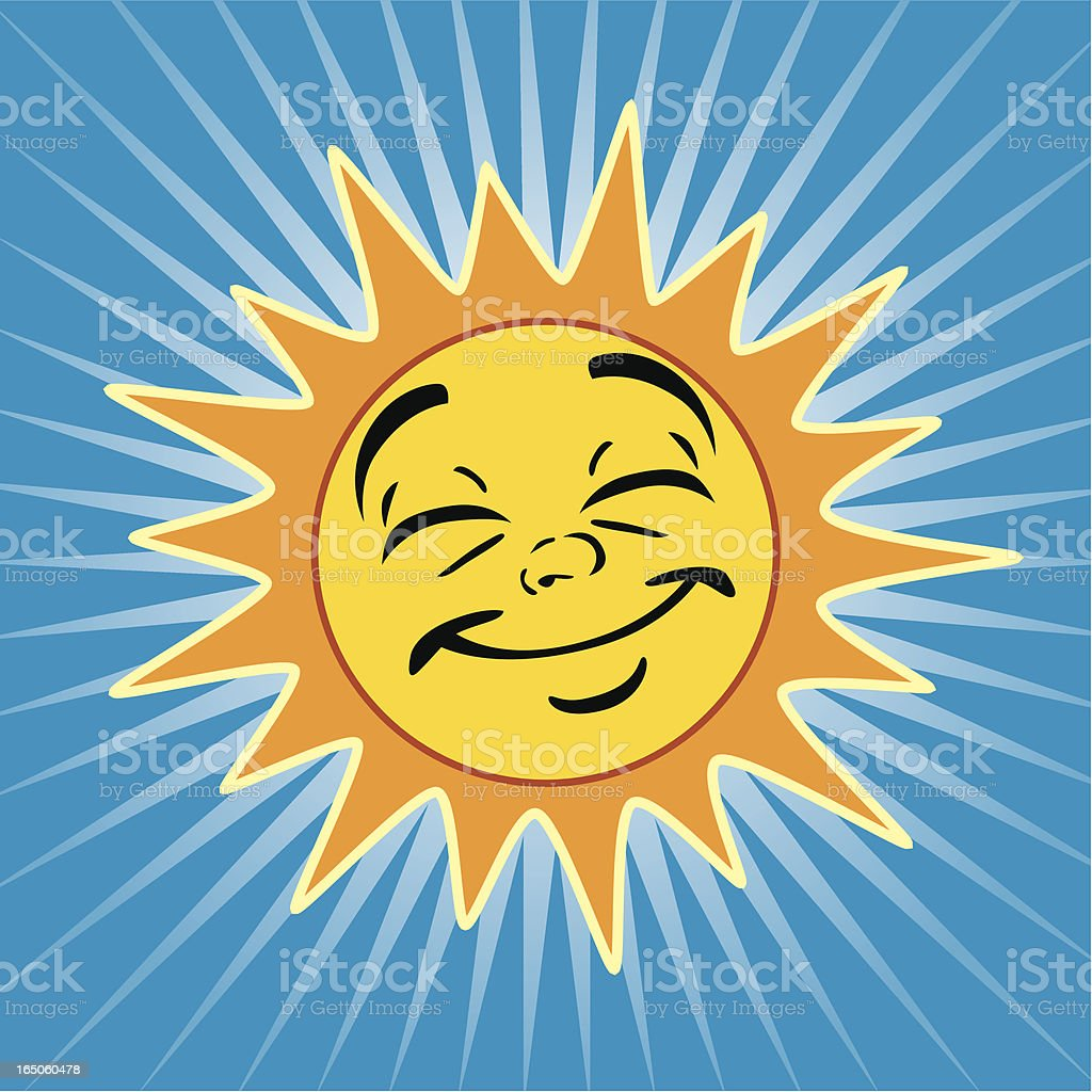 Illustration of a smiling sun on a blue background royalty-free stock vector art