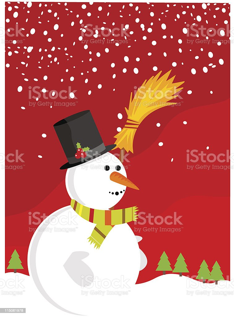 Illustration of a snowman holding a broom. royalty-free stock vector art