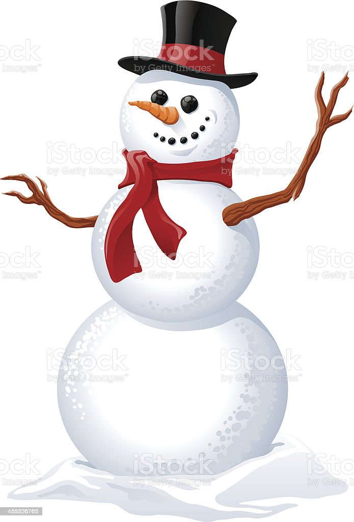 Illustration of a snowman wearing a red scarf vector art illustration