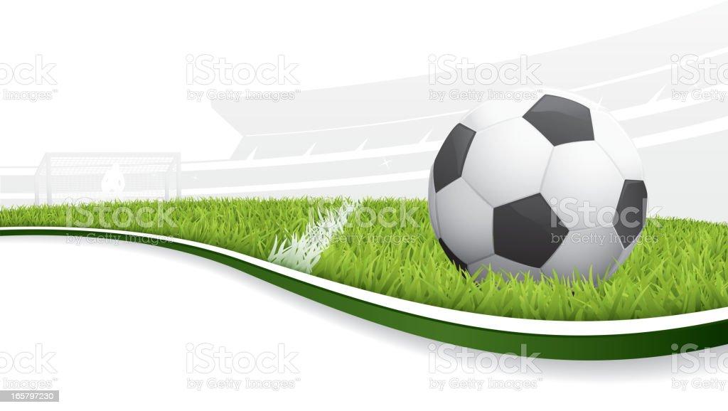 Illustration of a soccer ball in a field vector art illustration