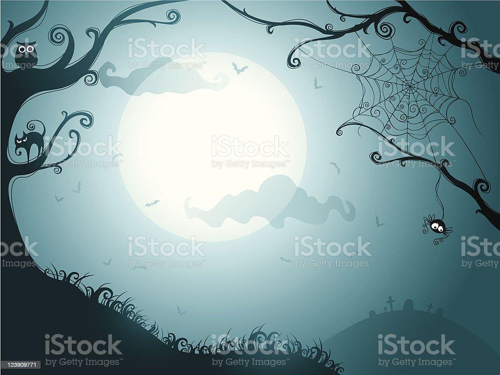 Illustration of a spooky Halloween night vector art illustration