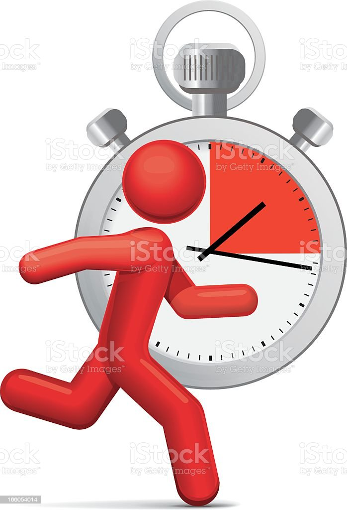 Illustration of a stopwatch with a person running in front vector art illustration