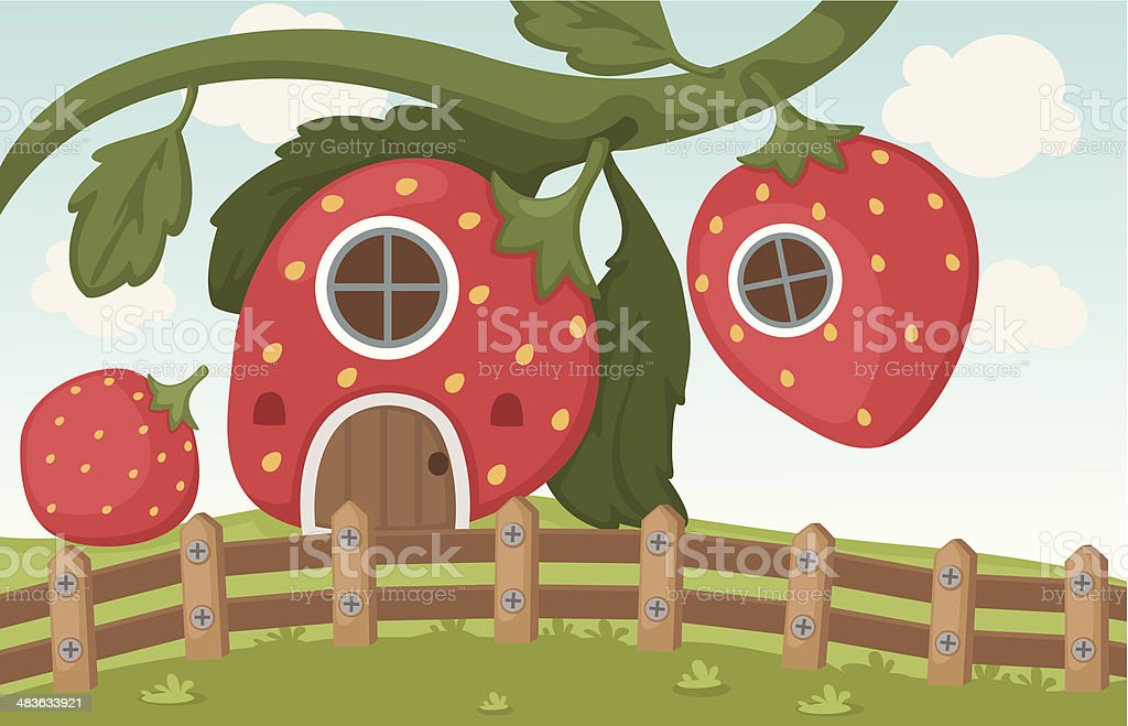 Illustration of a strawberry house royalty-free stock vector art