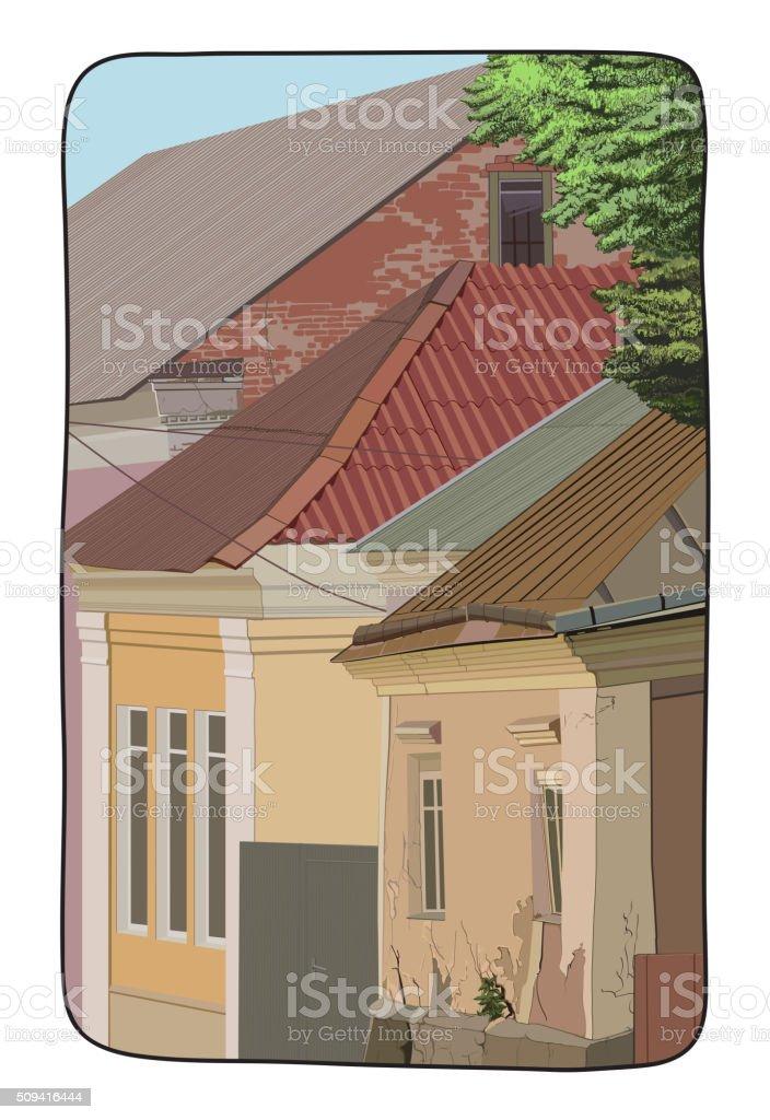 Illustration of a street vector art illustration