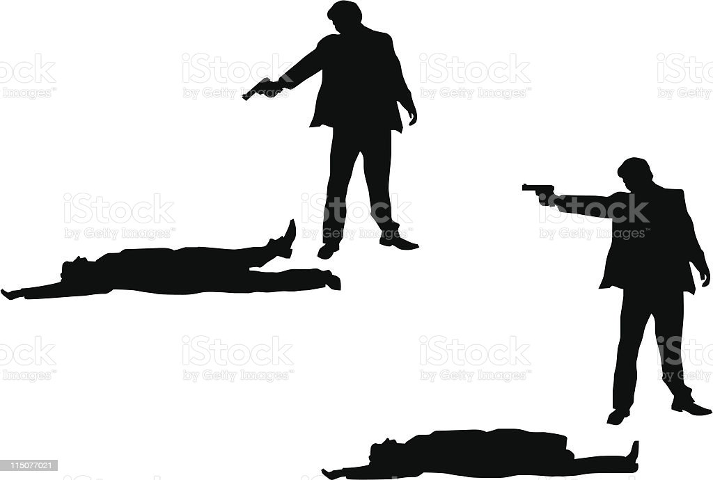 Illustration of a suited man pointing and shooting at a victim vector art illustration
