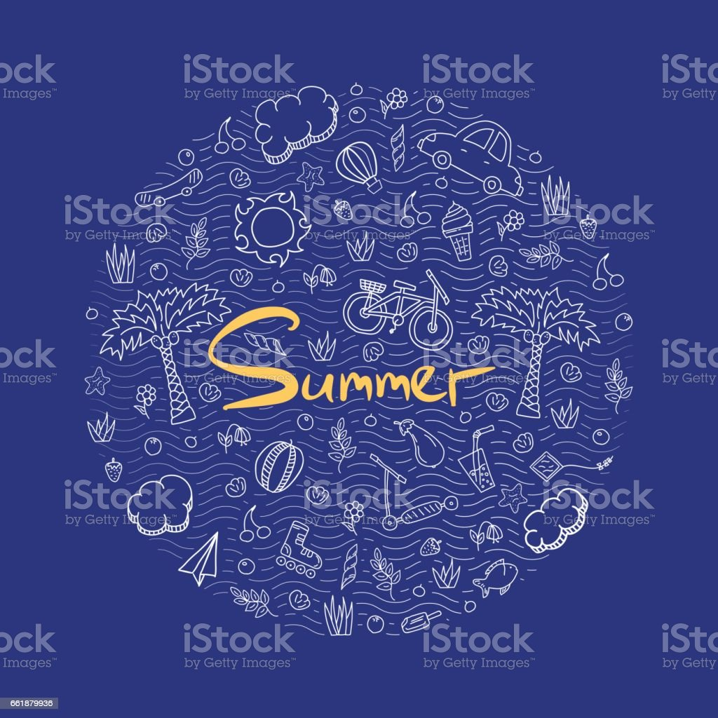 Illustration of a summer holiday in bright colors. vector art illustration