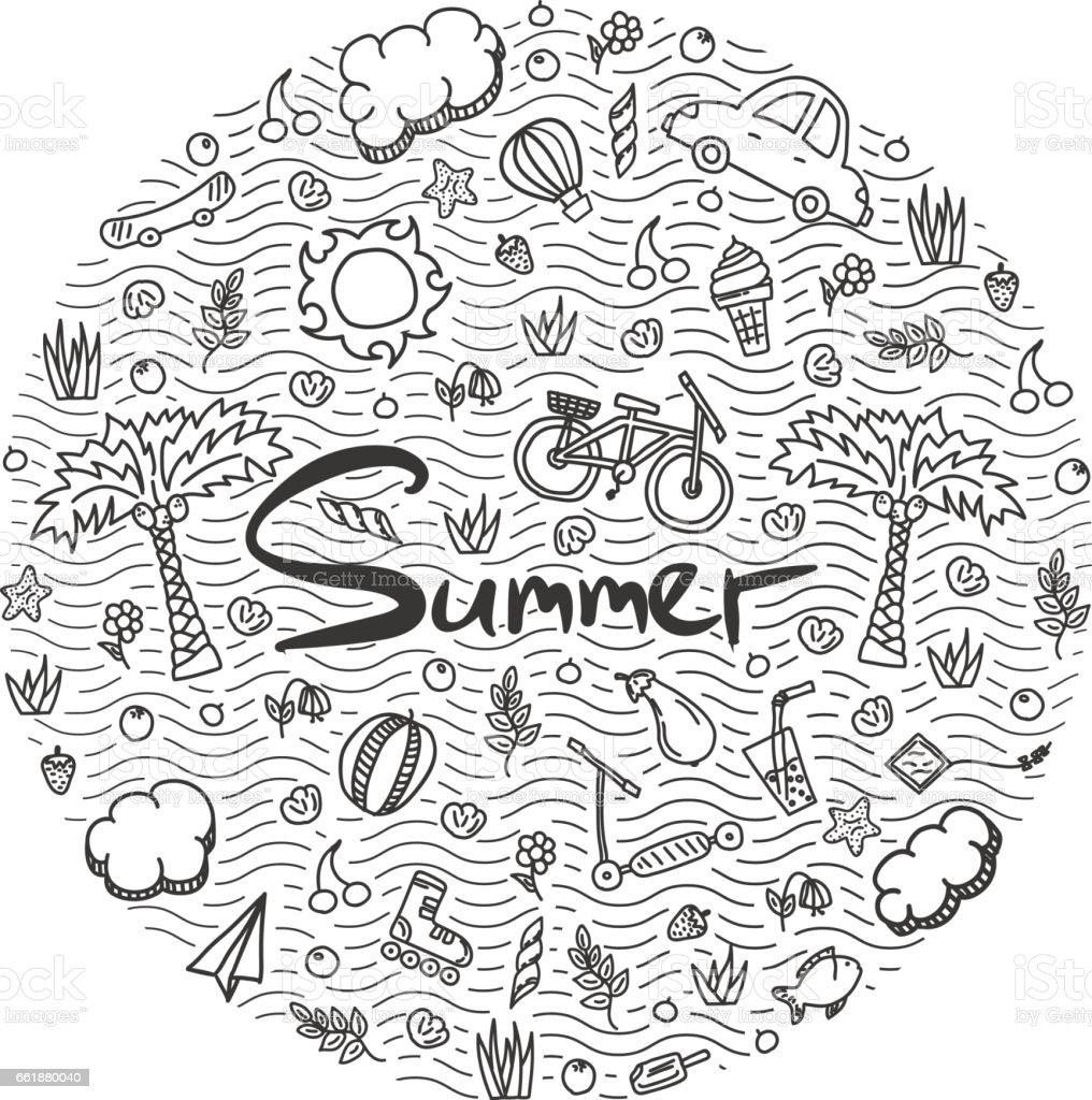 Illustration of a summer holiday. vector art illustration