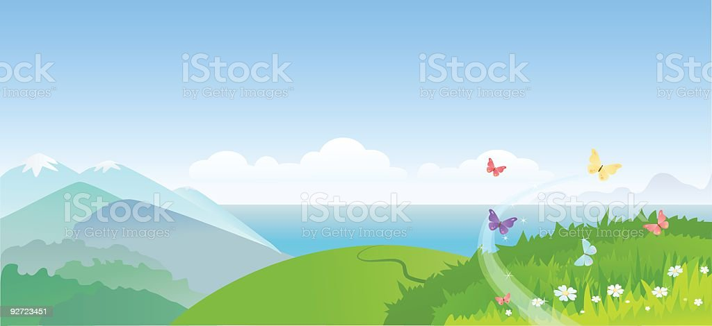 Illustration of a summer landscape and butterflies royalty-free stock vector art
