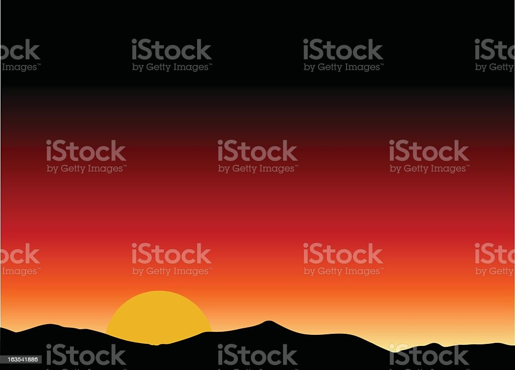 Illustration of a sunset on a mountain range royalty-free stock vector art