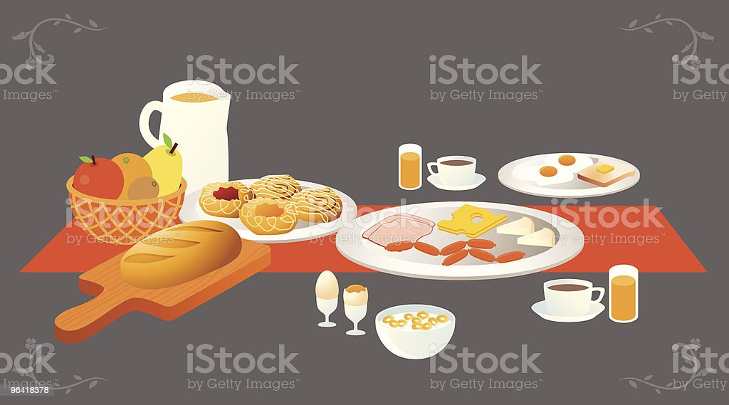 Illustration of a table set for breakfast royalty-free stock vector art