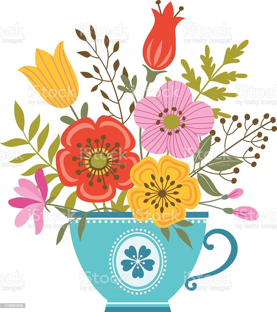 Illustration of a tea cup filled with colorful flowers vector art illustration