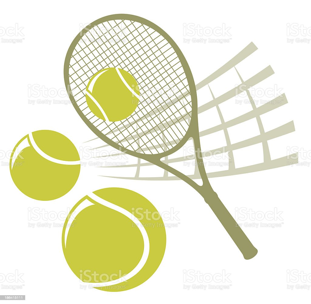 Illustration of a tennis racket, net and balls vector art illustration