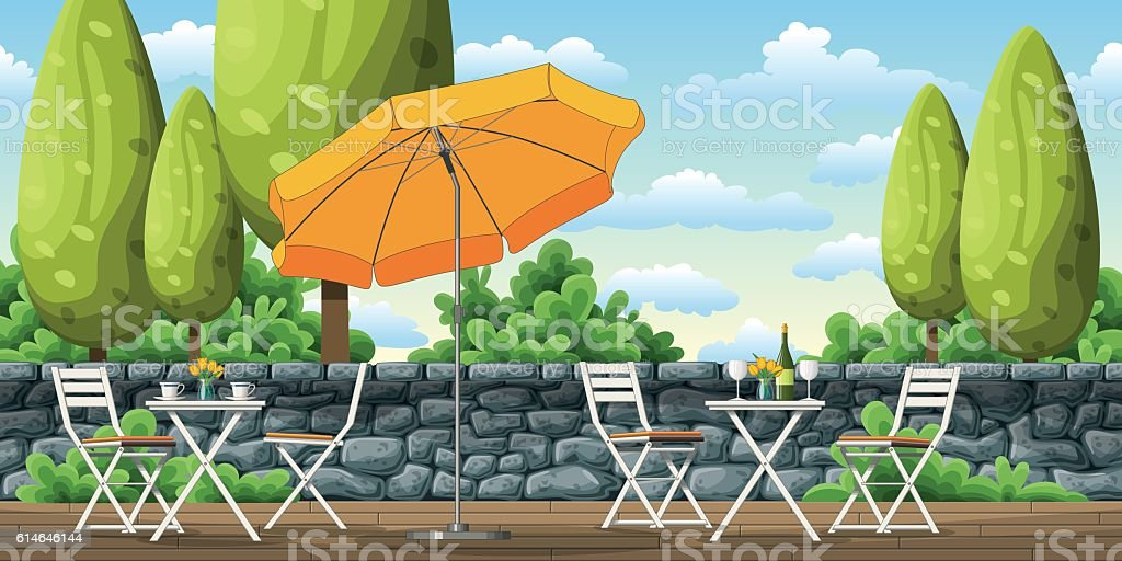 Illustration of a terrace with tables and chairs vector art illustration