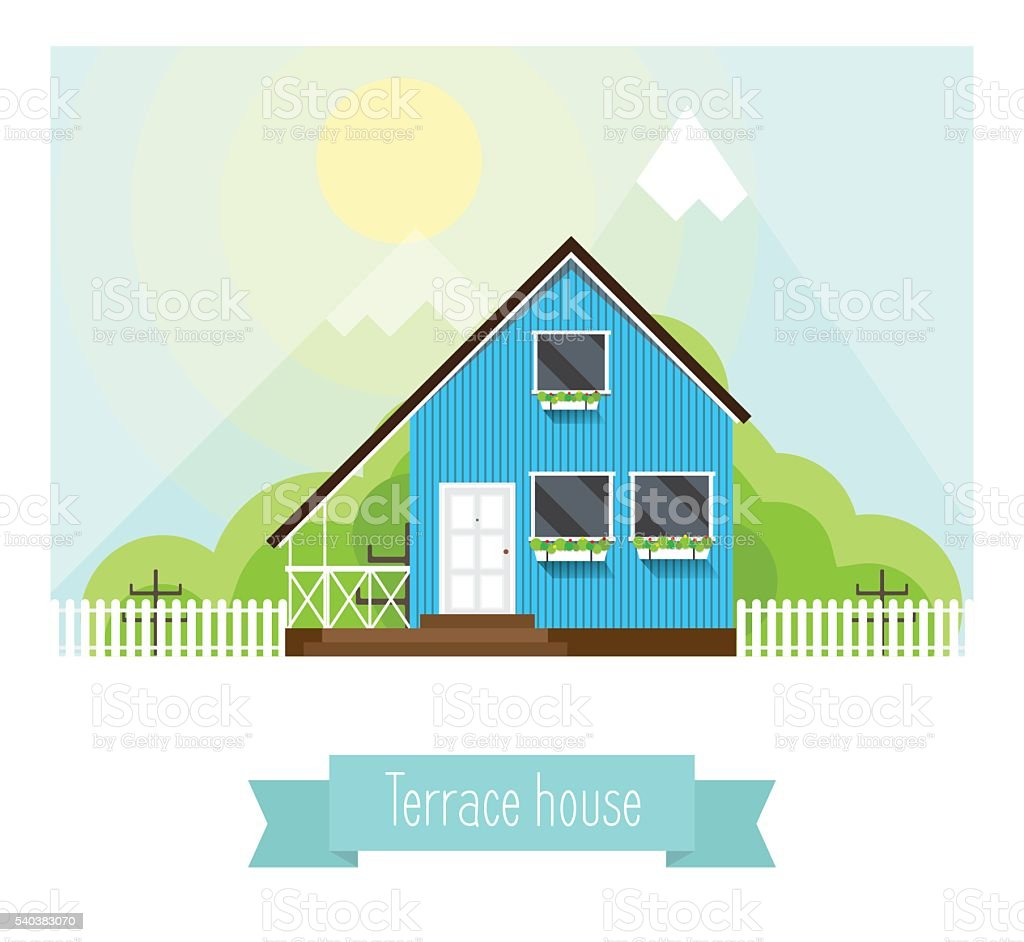 Illustration of a terraced house in the mountains vector art illustration