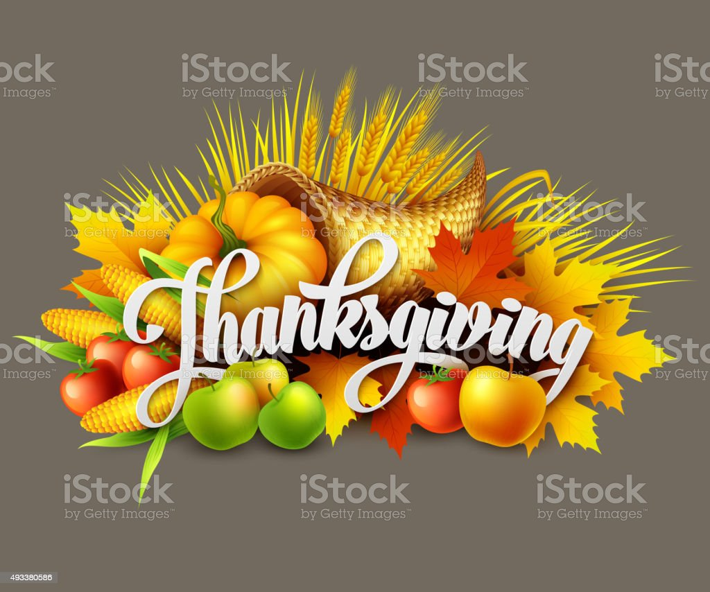 Illustration of a Thanksgiving cornucopia full  harvest fruits and vegetables. vector art illustration