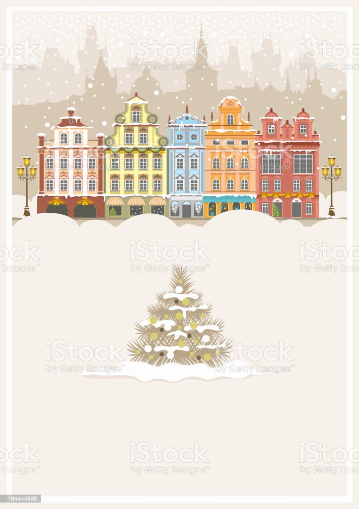Illustration of a traditional Christmas urban landscape royalty-free stock vector art